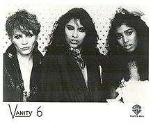 Left to right: Brenda Bennett, Vanity, and Susan Moonsie; 1983.