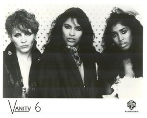 Vanity 6 - Left to right: Brenda Bennett, Vanity, and Susan Moonsie; 1983.