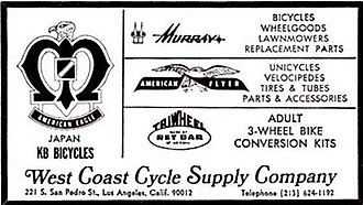 Nishiki (bicycle company) - 1971 advertisement: American Eagle Bikes, American Bicyclist Magazine, with 'KB Bicycles' signifying 'Kawamura-Built'