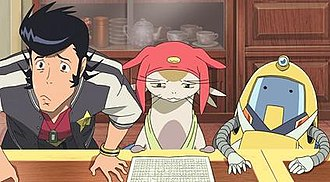 Space Dandy - The crew of the Aloha Oe. From left to right: Dandy, Meow, and QT.