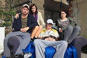Alys (TV series) - Sara Lloyd-Gregory with Carwyn Glyn (Shane, left), Aled Pugh (Kevin, centre) and Catrin Mai Huw (Ceri, right) (season 1)