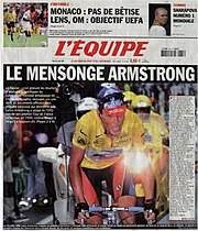 "L'Equipe cover accusing Armstrong of doping. The title roughly translates to ""The Armstrong lie""."