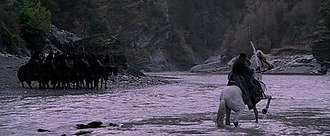 The Lord of the Rings: The Fellowship of the Ring - Arwen faces the Nazgûl at the Fords of Bruinen (Arrow River).