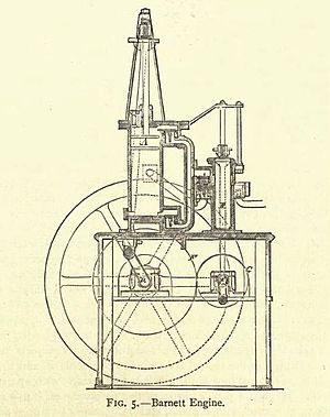 William Barnett (engineer) - The 1838 two-stroke engine with in-cylinder compression (image taken from Dugald Clerk's book of 1886)