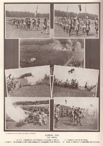 Historical reenactment - Modern reenactments of historical battles were held at Royal Tournament, Aldershot Tattoo. Pictured, the programme for the 1934 show, where the Siege of Namur was recreated.