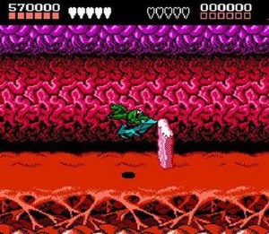 "Battletoads (video game) - The infamously difficult ""Turbo Tunnel"" level in the NES version, the first major jump in difficulty, where most players get stuck."
