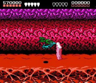 """Battletoads (video game) - The infamously difficult """"Turbo Tunnel"""" level in the NES version, the first major jump in difficulty, where most players get stuck."""