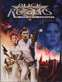 North American DVD release of the 1979 – 1981 Buck Rogers in the 25th Century TV series. Left to right: Twiki (with Dr. Theopolis), Col. Wilma Deering (Erin Gray), Capt. Buck Rogers (Gil Gerard), and (in background) Princess Ardala (Pamela Hensley).