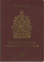 "Cover of Canadian Diplomatic e-Passport.  Cover is maroon colour with a gold-coloured crest.  Text reads ""CANADA"" and bilingual ""DIPLOMATIC PASSPORT"" and ""PASSEPORT DIPLOMATIQUE"""