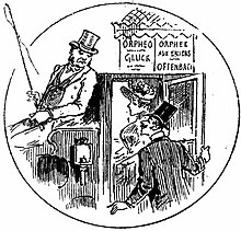 cartoon of smart man and woman getting into a horse-drawn cab and addressing the driver
