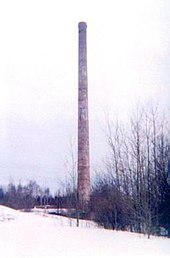 Corsica mine smokestack prior to its demolition