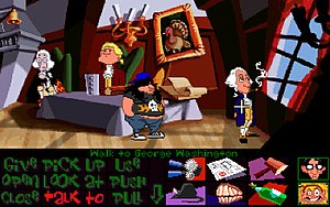 Day of the Tentacle - The game displays the point-and-click interface below the scene. Time travel and interaction with cartoon versions of figures from American colonial history, such as John Hancock, Thomas Jefferson and George Washington, are key to gameplay.