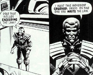 Democracy (Judge Dredd storyline) - Image: Dredd (write the law)