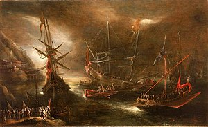 Battle of Cape Corvo - Embarkation of Spanish Troops on the Mediterranean Coast, by Andries van Eertvelt.
