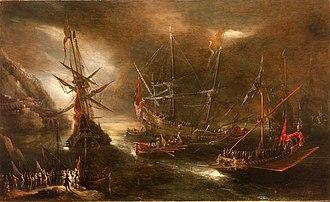 Battle of Cape Corvo - Embarkation of Spanish Troops on the Mediterranean Coast, by Andries van Eertvelt.