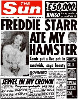 Kelvin MacKenzie - Freddie Starr Ate My Hamster, The Sun, 13 March 1986