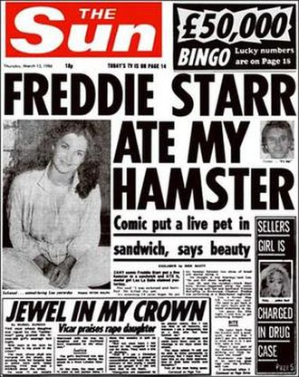 "The Sun (United Kingdom) - ""Freddie Starr Ate My Hamster"", 13 March 1986"