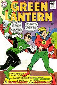 Green Lanterns of two worlds: The Silver Age Hal Jordan meets the Golden Age Alan Scott in Green Lantern #40 (Oct. 1965). Cover art by Gil Kane & Murphy Anderson.