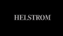 The word Helstrom sketch drawn in grey on a black background.