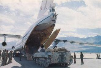 Aviation Research Centre - An armoured personnel carrier (BMP) being loaded on an IL-76 at Ladakh