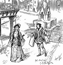 black and white drawing of a stage scene showing a plaza with a man addressing a woman, both in aristocratic mediaeval costume