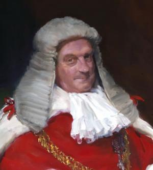 Geoffrey Lane, Baron Lane - Lane in 1982, painted by George JD Bruce