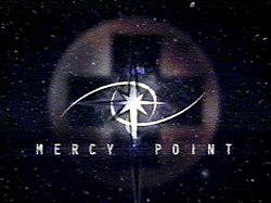 "An image with the words ""Mercy Point"" against a backdrop of stars ins pace. A medical cross appears in the background along with a star symbol."