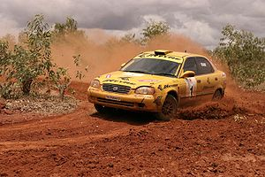 Indian National Rally Championship - Naren Kumar and Ramkumar in a Group N Maruti Baleno Rally Car in Mysore Safari Rally in 2005.