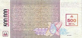Argentine austral - Image: P Austral 500000 B