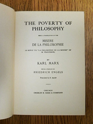 The Poverty of Philosophy - Title page of the 1910 Charles H. Kerr & Co. edition of Marx's The Poverty of Philosophy. The book was translated by British socialist Harry Quelch.