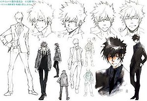 Psycho-Pass - Sketches of Shinya Kogami by Akira Amano. The staff avoided using colors that would stand out.