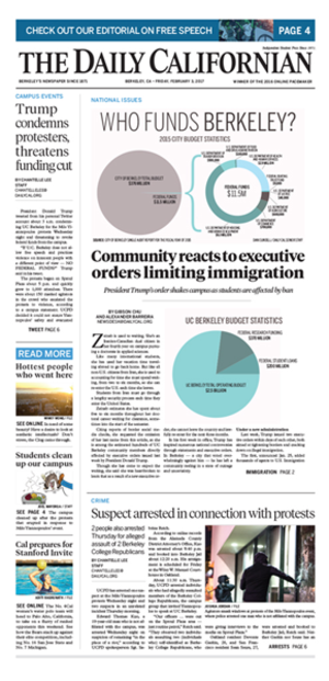 The Daily Californian - Front page of the Feb. 3, 2017 issue