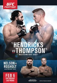 A poster or logo for UFC Fight Night: Hendricks vs. Thompson.