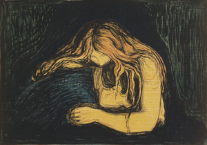 Love and Pain (painting) - Vampyr II by Edvard Munch