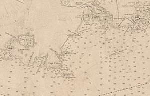 Sechelt (steamboat) - 1906 nautical chart showing area of last run and sinking of Sechelt