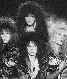 Vinnie Vincent Invasion, 1986. Clockwise from top: Bobby Rock, Dana Strum, Vinnie Vincent and Mark Slaughter.