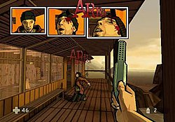 Gameplay of XIII, illustrating the caption that pops up when a headshot is  performed.