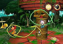 "Two characters pose on the left side of the screen atop a circular, red platform covered in green moss. Extending from the platform's center is a large totem holding a second platform. A crudely drawn, yellow line circles and points from one of the characters towards the totem. A green line also circles the totem. Three hand-shaped cursors denoting ""2P"", ""3P"", and ""4P"", as well as a star-shaped cursor, dot the right side of the screen. The background shows dense, jungle foliage and the top right of the screen shows two circular icons."