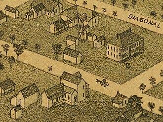 "Bastrop Academy - Bastrop Academy, 1887 ""Diagonal Street"" is now Church Street Allen-Fowler House in foreground."
