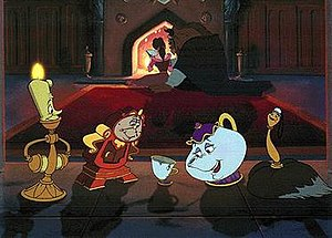 Several Of Beauty And The Beasts Main Characters From Left To Right Lumiere Cogsworth Chip Mrs Potts Babette Belle Beast Are Seen In