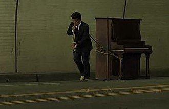 Grenade (song) - Mars dragging the piano in the video.