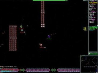 Cosmic Rift - Screenshot of a generic zone portraying the basic game play system and graphical interface, which bear resemblance to those of the game SubSpace.