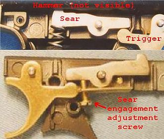 Accurizing - A Crosman air pistol trigger mechanism, unmodified (top) and with a sear engagement adjustment (bottom).