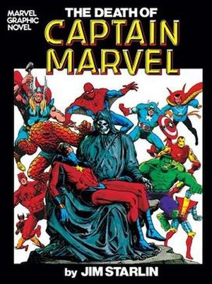 Captain Marvel (Mar-Vell) - The Death of Captain Marvel graphic novel (1982). Cover art by Jim Starlin.