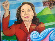 Huerta's depiction on a Precita Eyes mural on the student union wall of CCSF in San Francisco