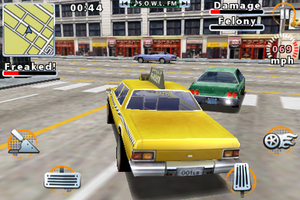 """Driver (video game) - Gameplay from the 2009 iOS version. Note the on-screen touch controls. In this mission, Tanner is trying to scare someone sufficiently, indicated by the """"Freaked"""" meter."""