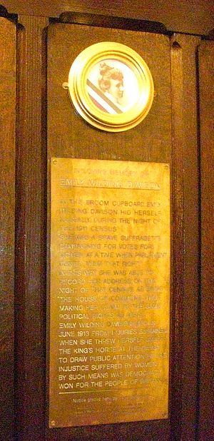 St Mary Undercroft - Commemorative plaque to Emily Davison in the Palace of Westminster