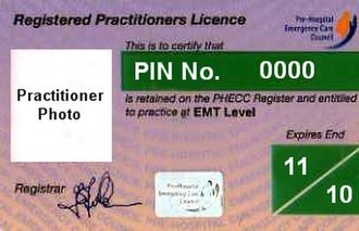 PHECC - A PHECC practitioners' licence at Emergency Medical Technician level.