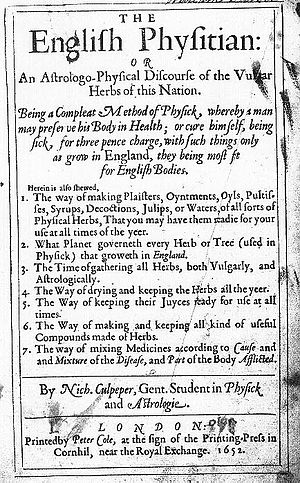 Nicholas Culpeper - The title page of The English Physitian.