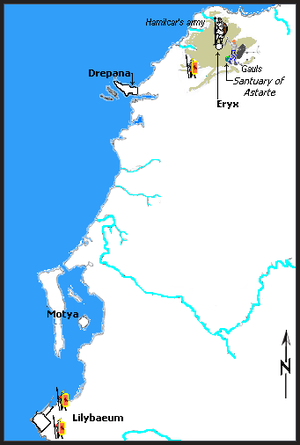Hamilcar Barca - Hamilcar Barca's and the Roman Positions near Eryx. A generic description, not to exact scale.